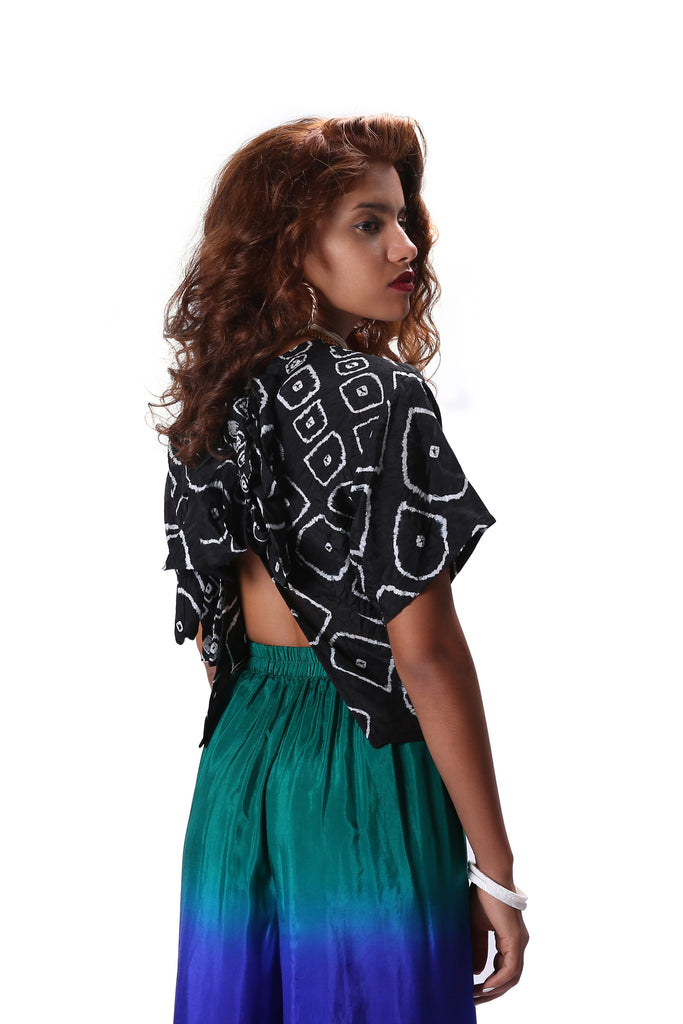 Chhota Mota Tie Back Blouse - Black