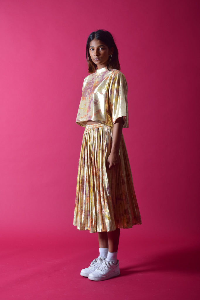 SHIMMA PLEATED SKIRT [GOLD]