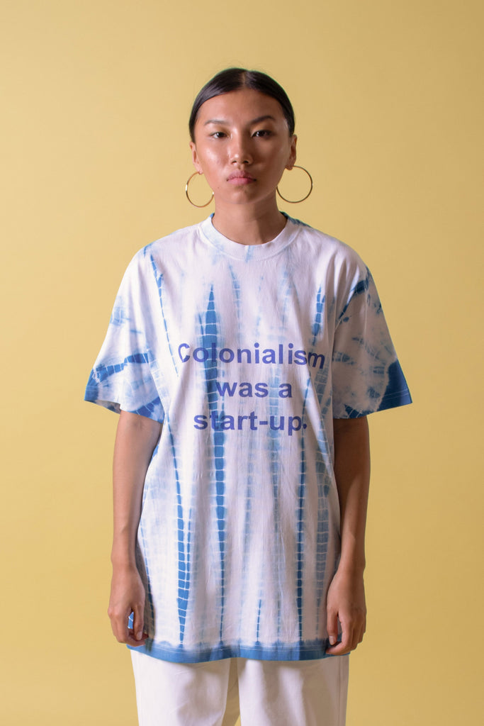 COLONIALISM WAS A START-UP TEE - BLUE