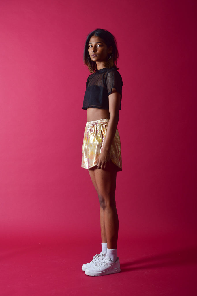 SHIMMA MINI SHORTS [GOLD]