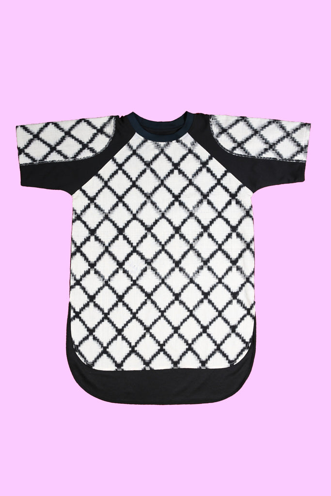 Classic White and Black Criss Cross cotton Ikat T Shirt or Shirt Casual Wear designed by NorBlack NorWhite For Men and Women Unisex