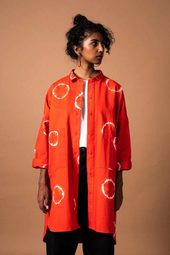 RING OVERSIZED SHIRT - CHILLI RED