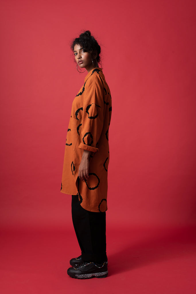RING OVERSIZED SHIRT - TERRACOTTA