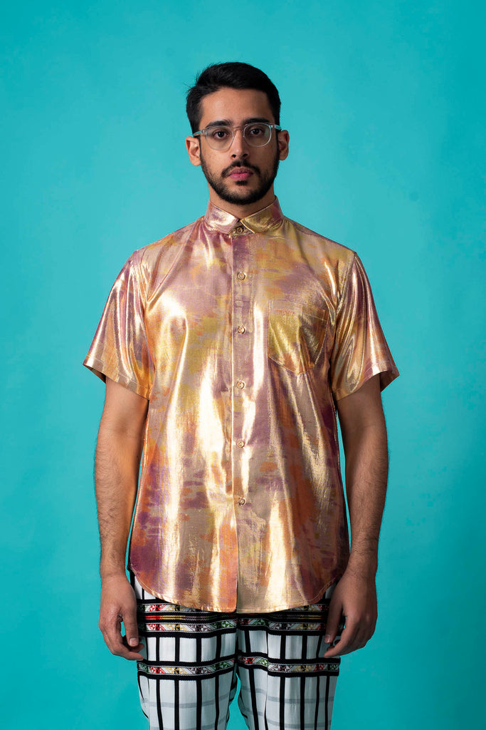 GOLD SHIMMA BOYFRIEND SHIRT