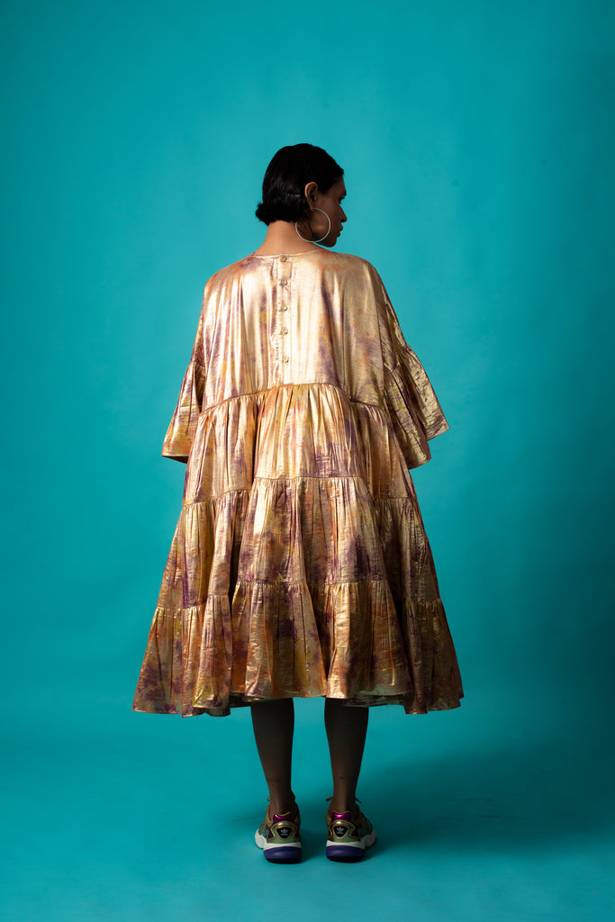 GOLD SHIMMA TIER DRESS