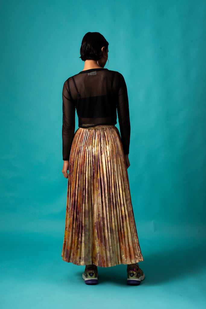 GOLD SHIMMA PLEATED SKIRT
