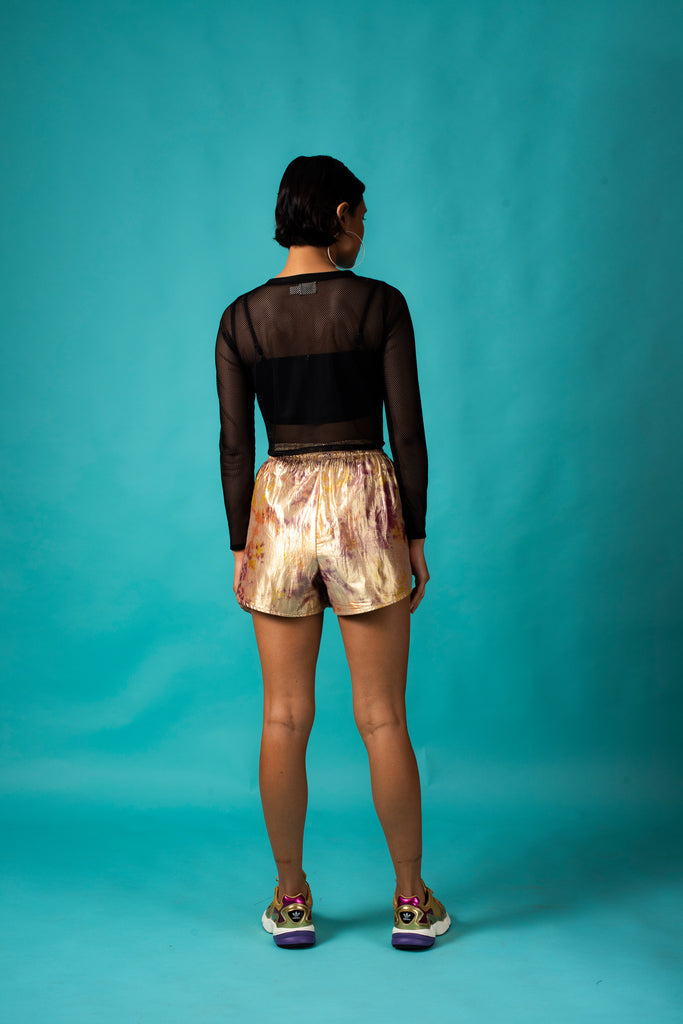 GOLD SHIMMA MINI SHORTS