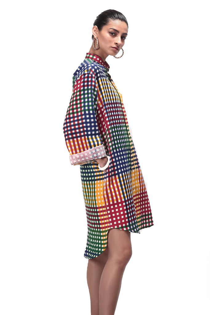 Multi colored checkered screen printed long cotton shirt side profile designed by NorBlack NorWhite.