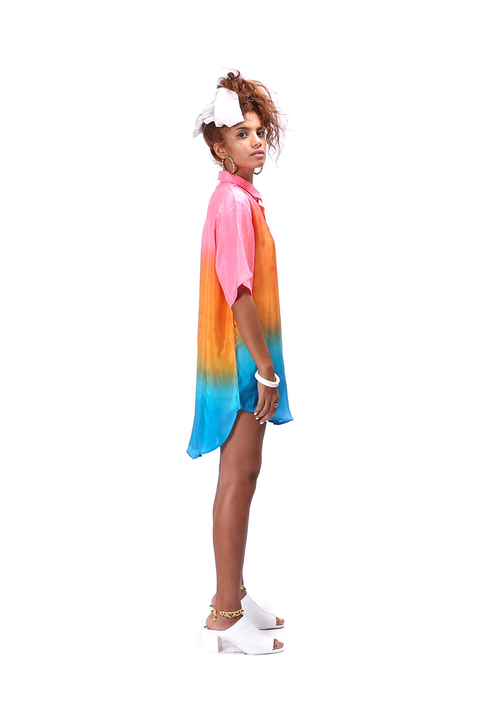 Silk Boyfriend Shirt in Ombre Dip Dye in colors Orange Blue Pink Shirt Dress for Women Half Sleeves designed by NorBlack NorWhite Nor Black Nor White