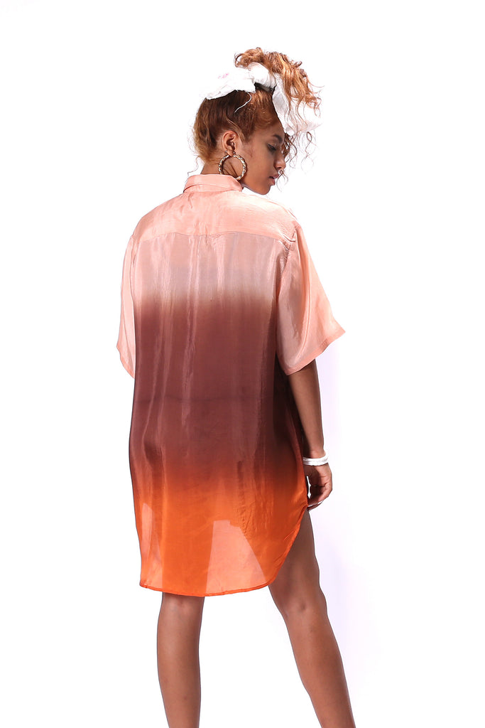 Silk Boyfriend Shirt in Ombre Dip Dye in colors Orange Salmon Brown Pink Peach Shirt Dress for Women Half Sleeves designed by NorBlack NorWhite Nor Black Nor White