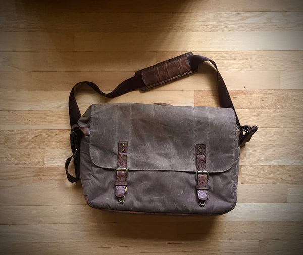 A favorite photo of an ONA bag—a well-worn Union Street messenger bag that my mom received in 2010 and still uses as her laptop bag! Photo by Tracy Foster