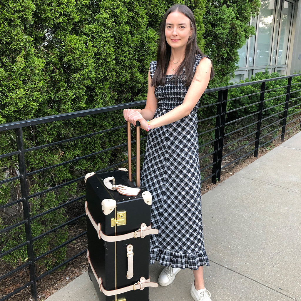 MaryKate Boylan with her SteamLine Luggage Starlet Spinner