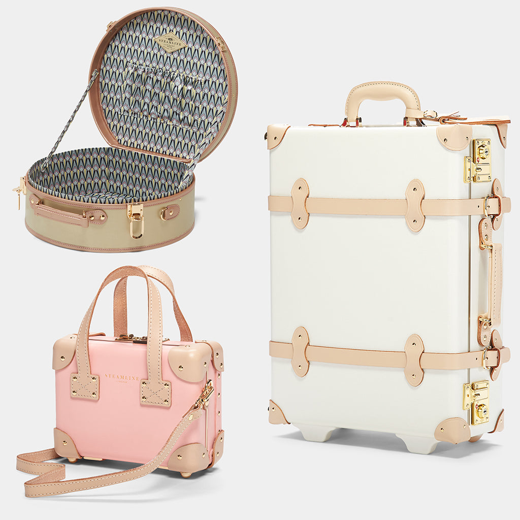 SteamLine Luggage 2020 Gift Guide For her - Featuring the Alchemist Hat Box, Sweetheart Carryon, and Correspondent Mini