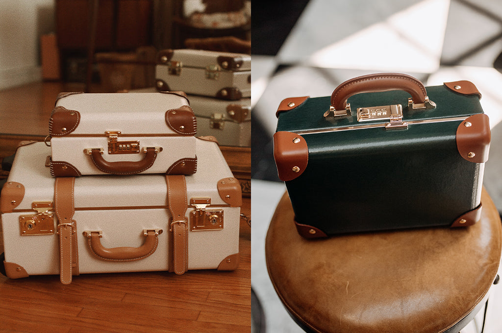 The SteamLine Luggage bonded-leather Cream & Hunter Green Diplomat