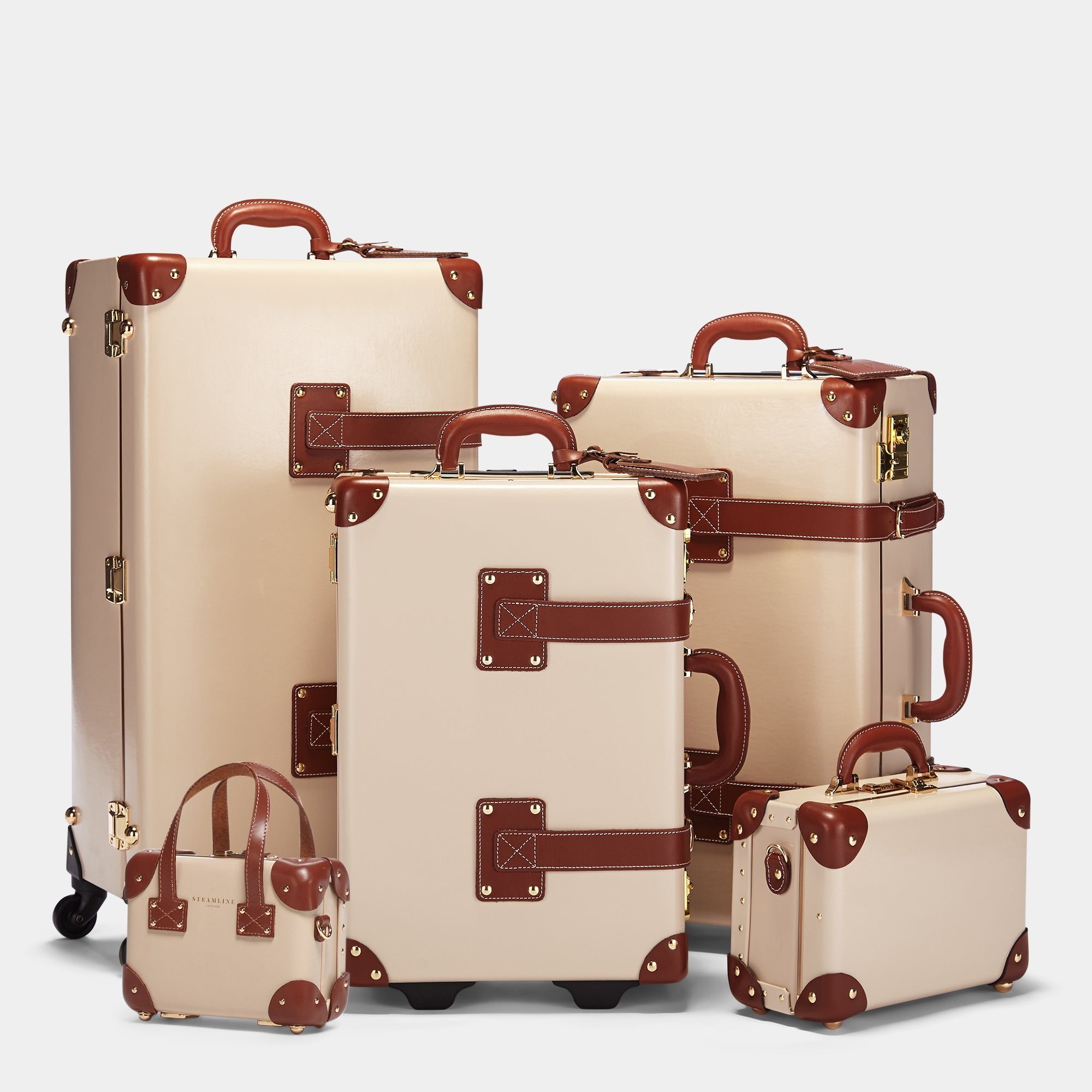 The complete Cream Diplomat Collection: Spinner, Carryon, Stowaway, Vanity and Mini.