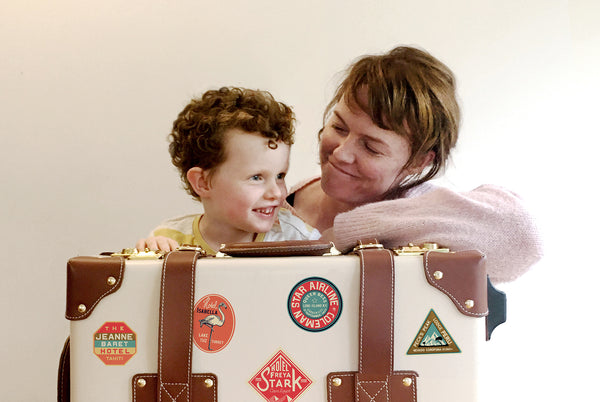 Annie Atkins and son enjoy their bestickered SteamLine!
