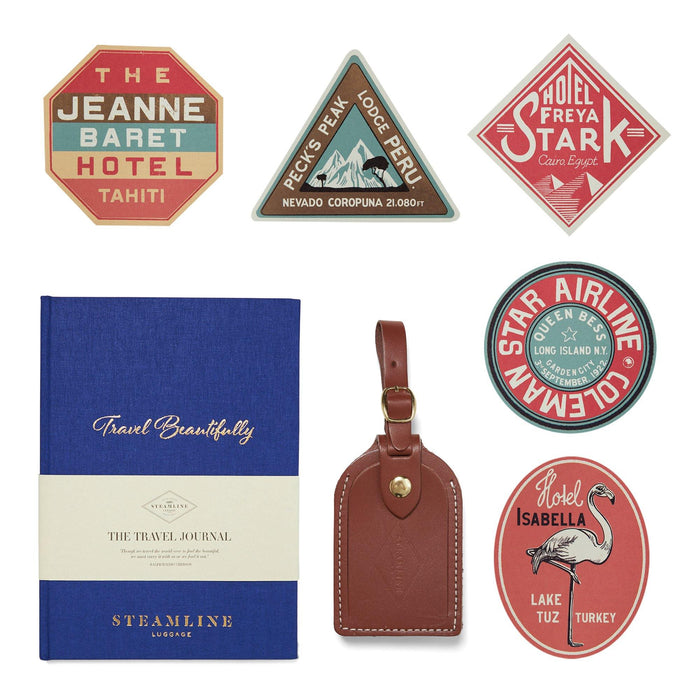 The Adventurer's Gift Set - with Brown Leather Luggage Tag
