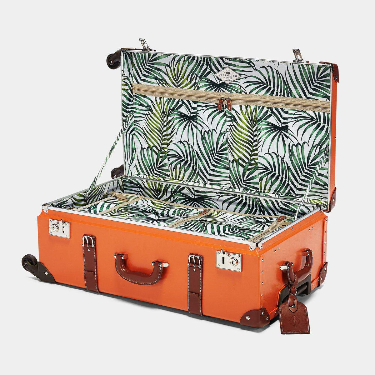 The Anthropologist Stowaway in Orange - Vintage Style Leather Case - Interior Front
