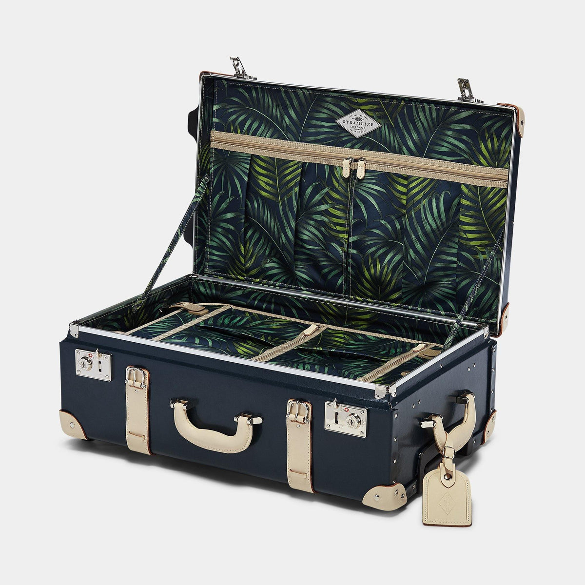 The Anthropologist Stowaway in Navy - Vintage Style Leather Case - Interior Front