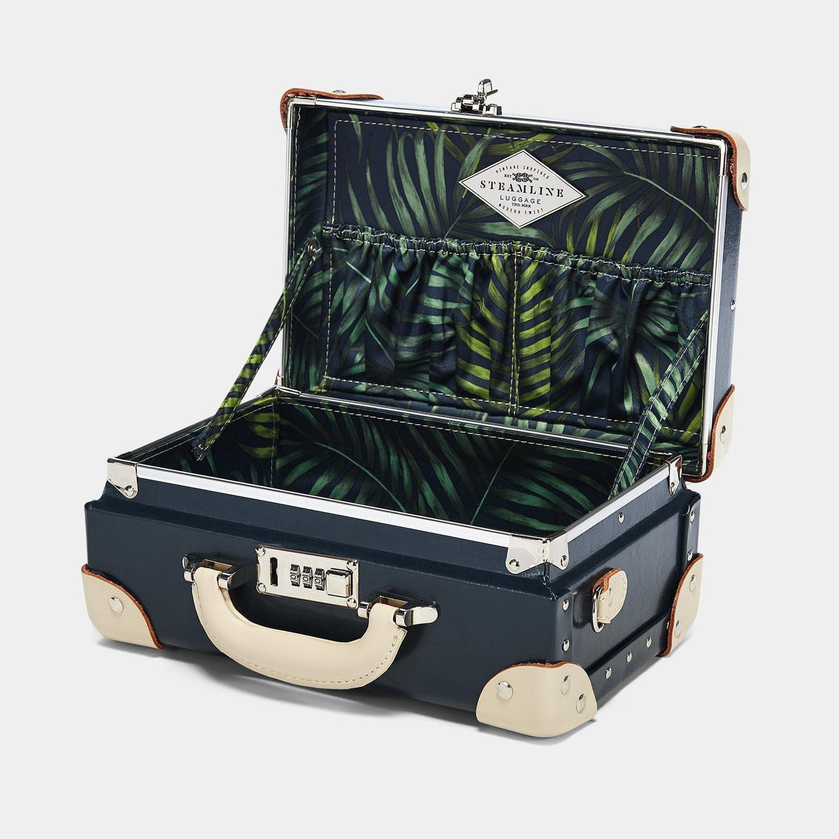 The Anthropologist Vanity in Navy - Vintage Style Leather Case - Interior Front