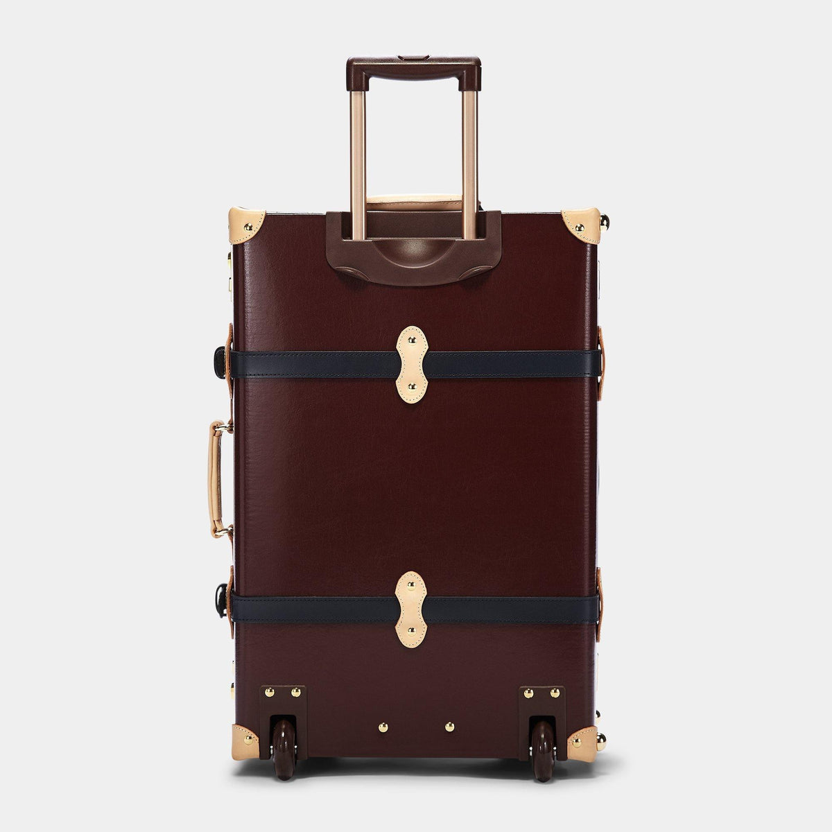 The Architect Stowaway in Burgundy - Vintage Style Leather Case - Exterior Back with Extendable Handle