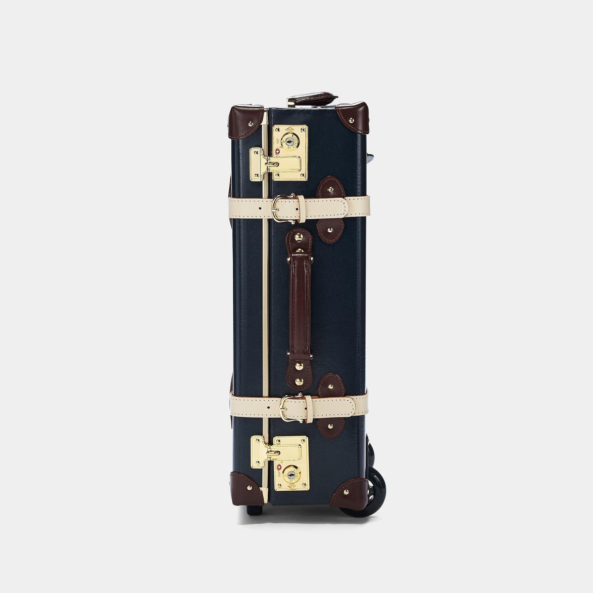The Architect Carryon in Navy -Vintage Style Leather Case - Exterior Side