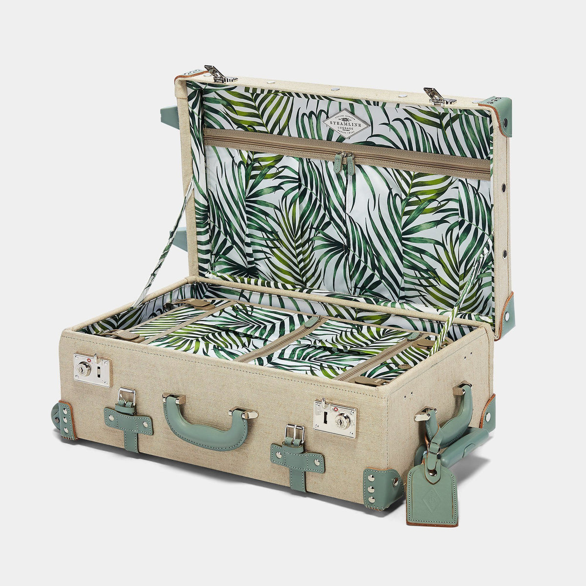 The Editor Stowaway in Seagreen - Hat Box Luggage - Interior Front