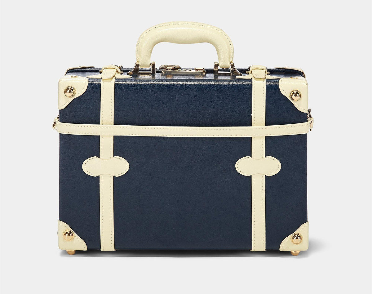 The Entrepreneur Briefcase in Navy - Vintage-Inspired Luggage - Exterior Back with Shoulder Strap
