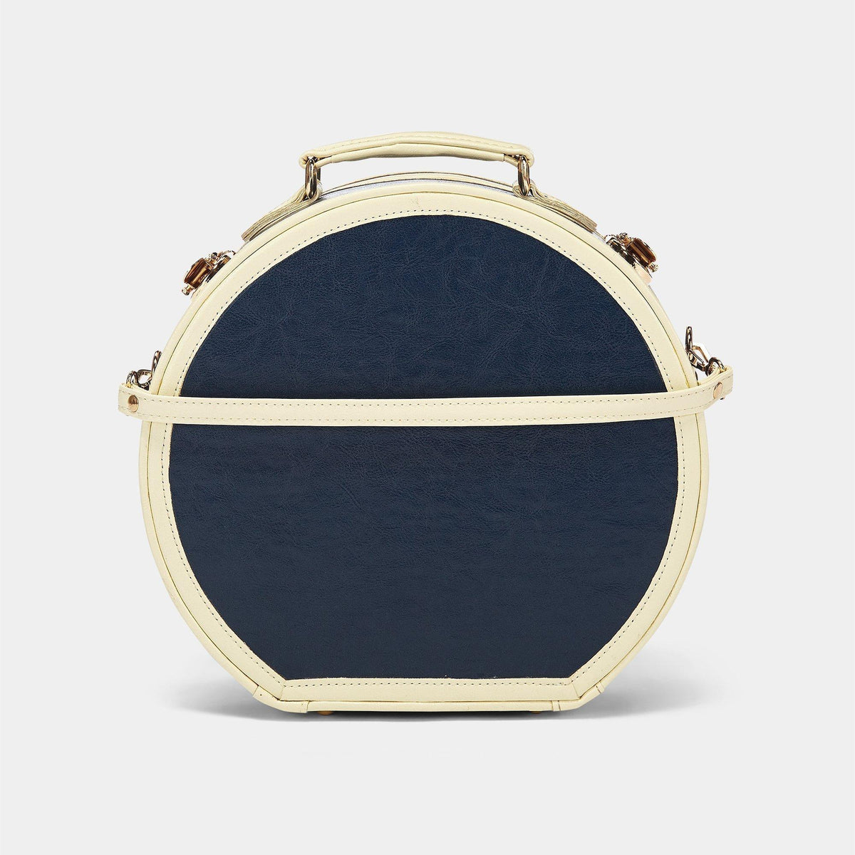 The Entrepreneur Hatbox Small in Navy - Vintage-Inspired Luggage - Exterior Back with Shoulder Strap