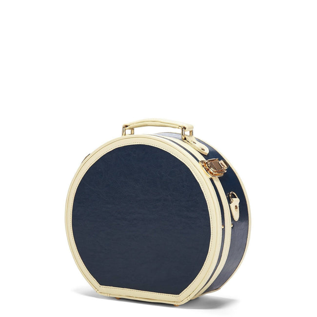 The Entrepreneur Hatbox Small in Navy - Vintage-Inspired Luggage - Exterior Front