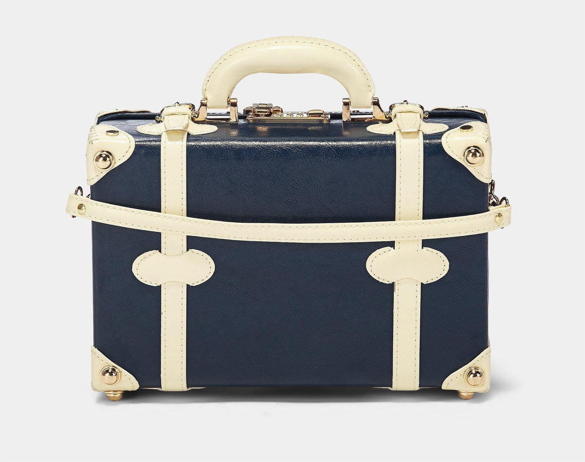 The Entrepreneur Vanity in Navy - Vintage-Inspired Luggage - Exterior Back with Shoulder Strap