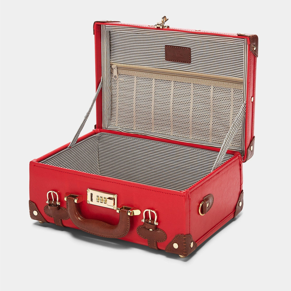 The Entrepreneur Briefcase in Red - Vintage-Inspired Vegan Luggage - Interior Front