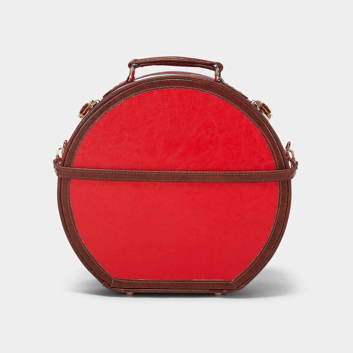The Entrepreneur Hatbox Small in Red - Hat Box Luggage - Exterior Back with Shoulder Strap