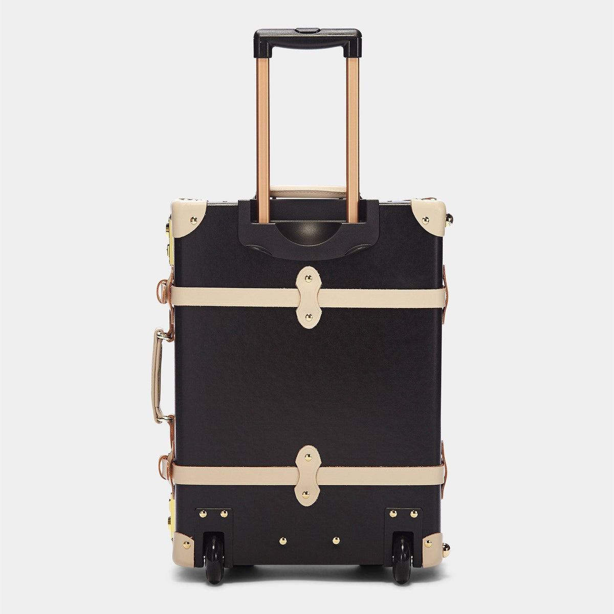 The Starlet Carryon in Black -Vintage Style Leather Case - Exterior Back With Extended Handle