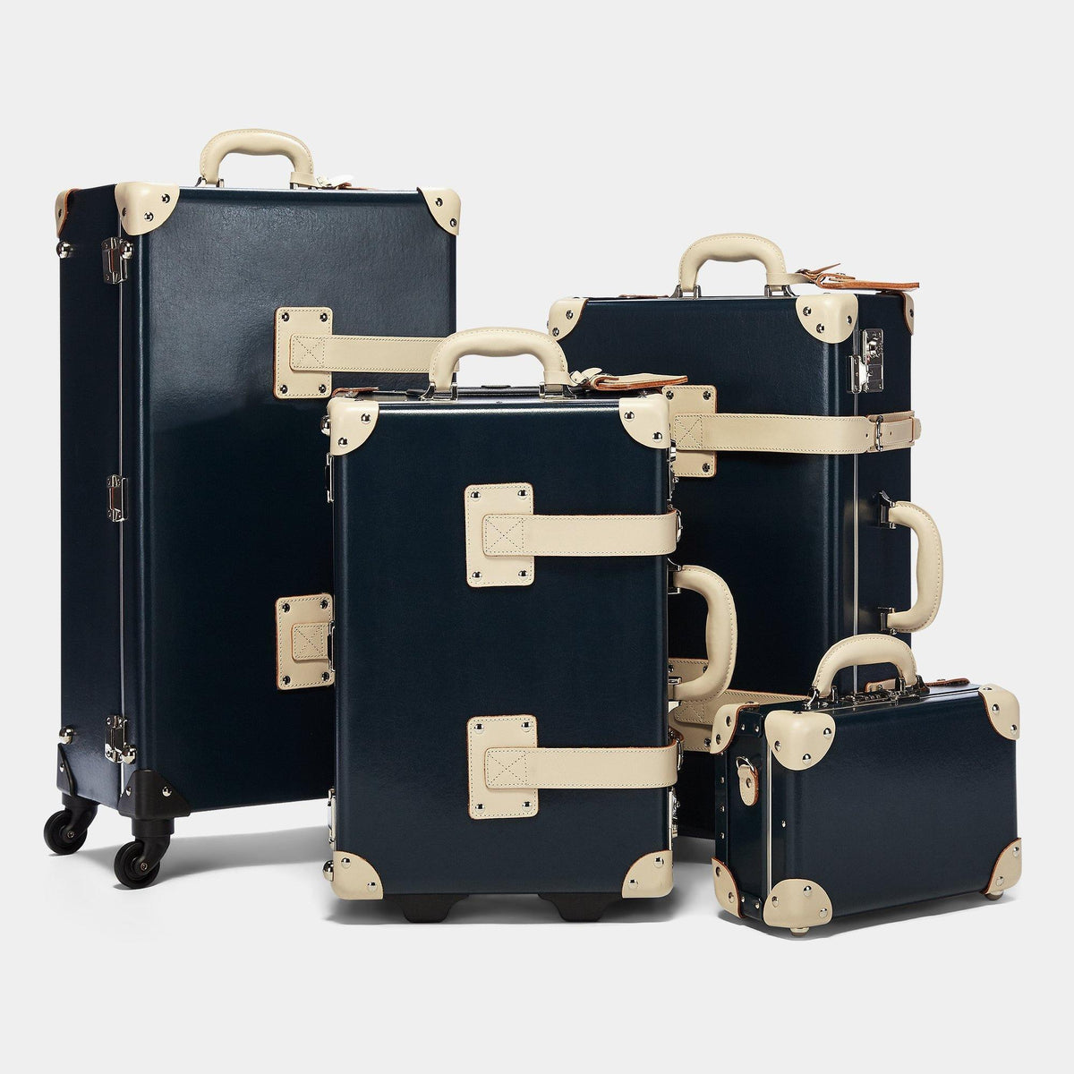 The Anthropologist Vanity in Navy - Vintage Style Leather Case - Alongside matching cases from Anthropologist Navy Collection