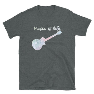 Music is Life Water Color Electric Guitar - T-Shirt - Death Emporium