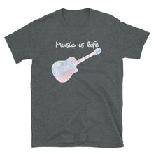 Load image into Gallery viewer, Music is Life Water Color Acoustic Guitar - T-Shirt - Death Emporium