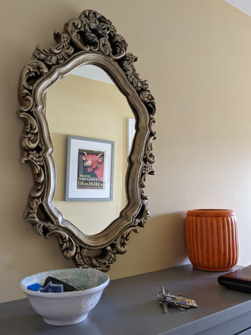 Pale Yellow Wall Vintage Mirror