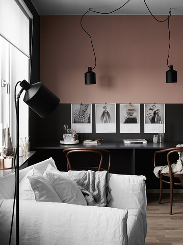 Dusty Pink and Black Wall