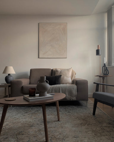Neutral Living room with mid century furniture