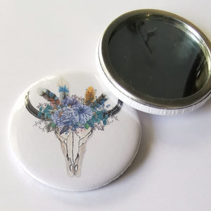 Pocket Mirror - Boho Skull