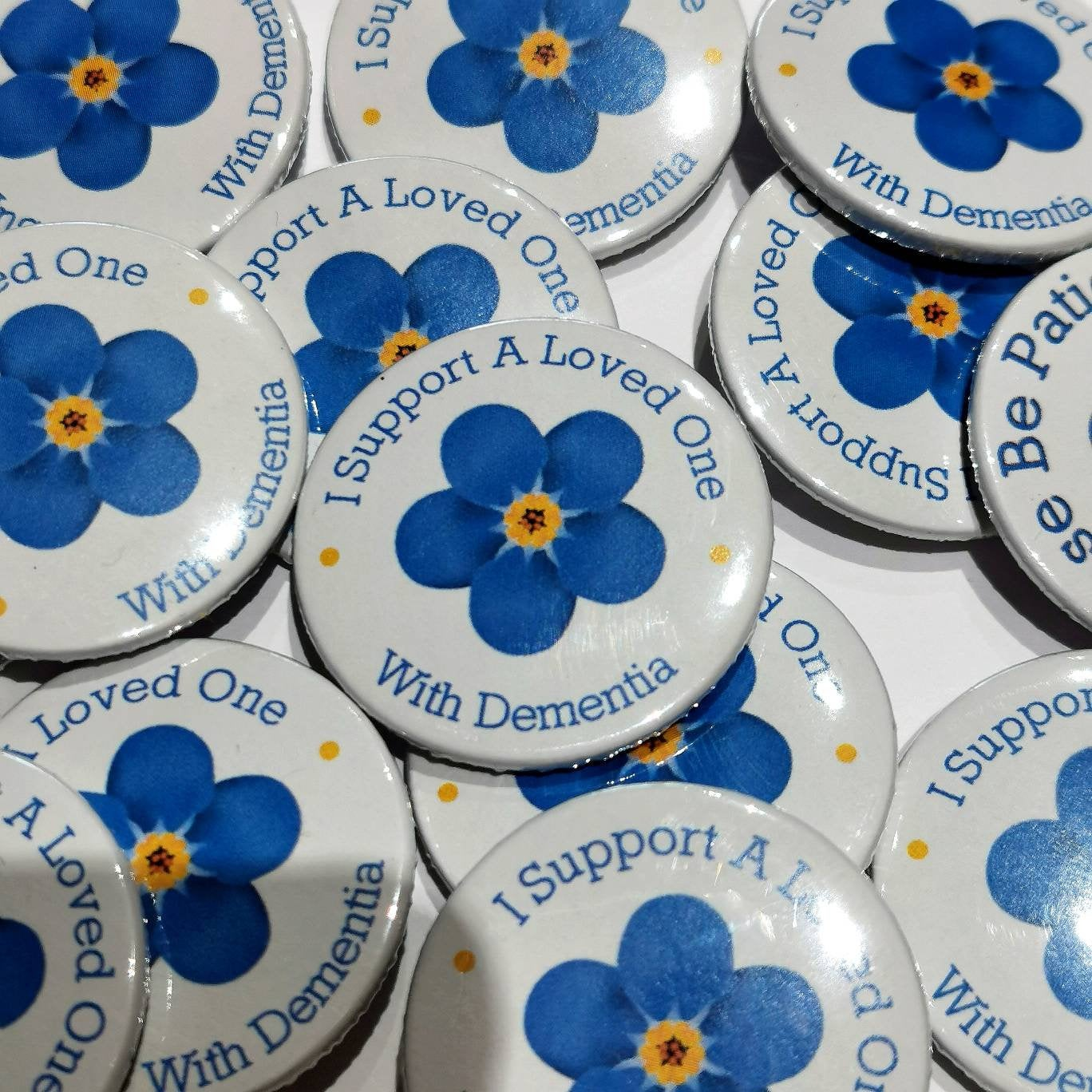 dementia awareness button badge forget me not