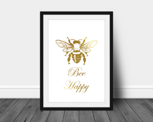 bee happy bumble be real foil print quote