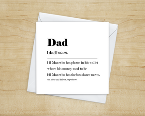fathers day black and white definition greetings card