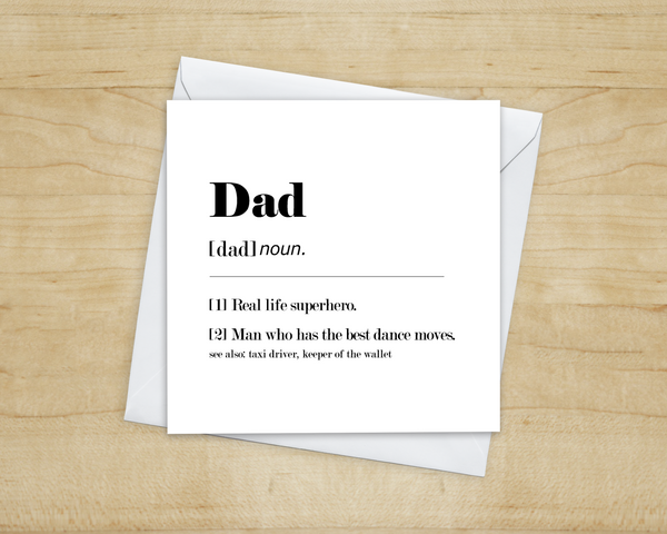 black and white funny dad definition greetings card