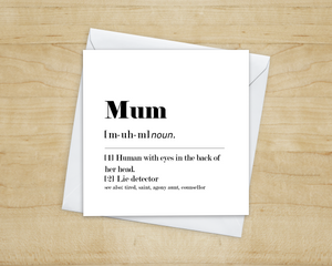 Mum Definition Greetings Card