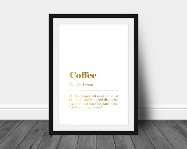 funny a4 foil print coffee dictionary definition
