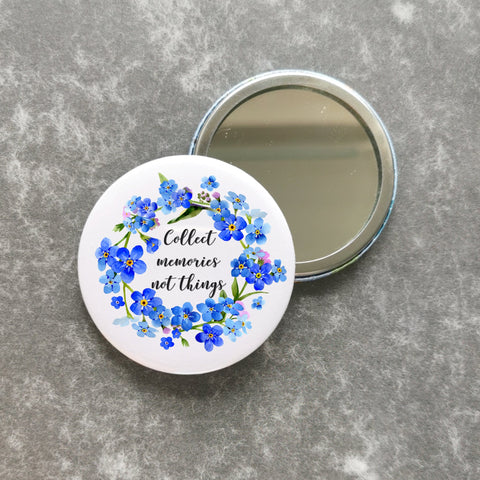 Pocket Mirror - Forget Me Nots - Dementia Awareness
