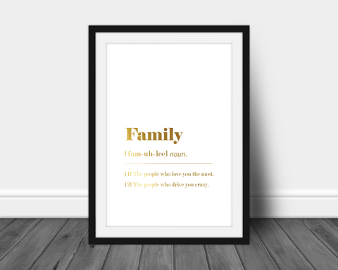 gold foil printed family quote definition a4