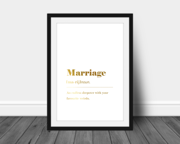 Foil Quote - Funny Marriage Dictionary Definition